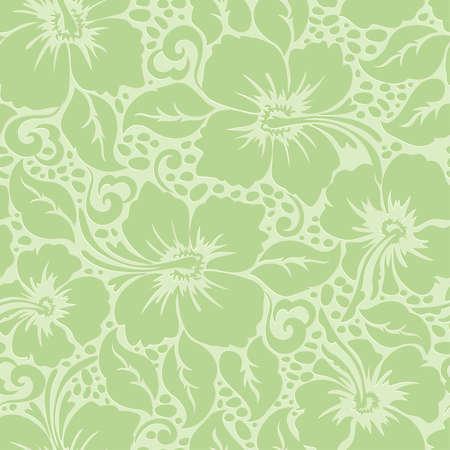 Tropical Hawaiian hibiscus floral seamless pattern . Vector
