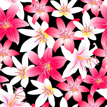 Tropical hibiscus red and pink floral design seamless pattern .