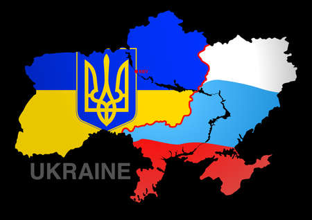 Ukraine map UKRAINE V RUSSIA . Vector