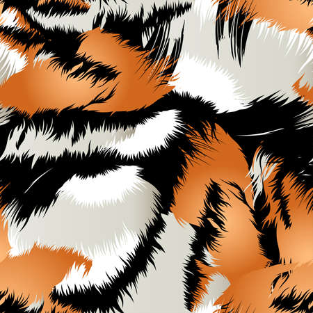 Wild tiger stripes in a seamless pattern .