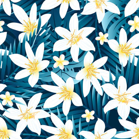 Tropical white and yellow hibiscus floral design seamless pattern .