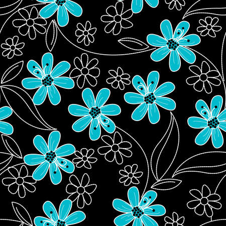 Light blue flowers on black and white embroidery in a seamless pattern .