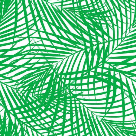 Tropical palm leaves green seamless pattern . Иллюстрация