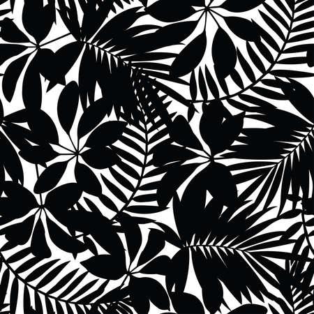 tropisch: Schwarze und weiße tropischen Blättern nahtloses Muster.
