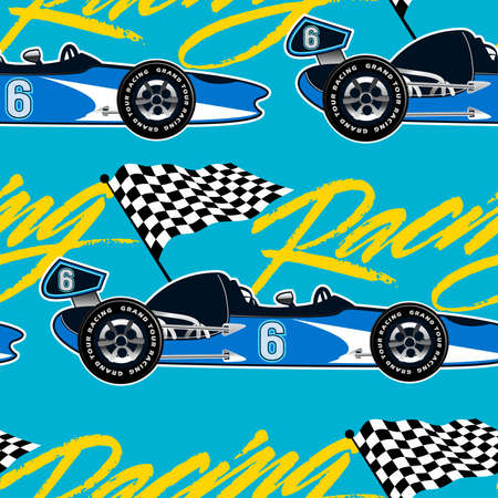 racer flag: Open wheel racing car seamless pattern .