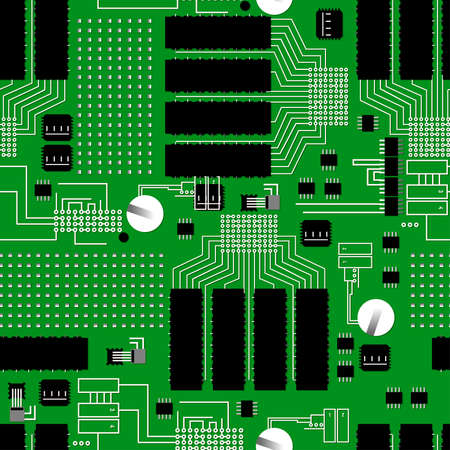 silicon: Green circuit board seamless pattern .