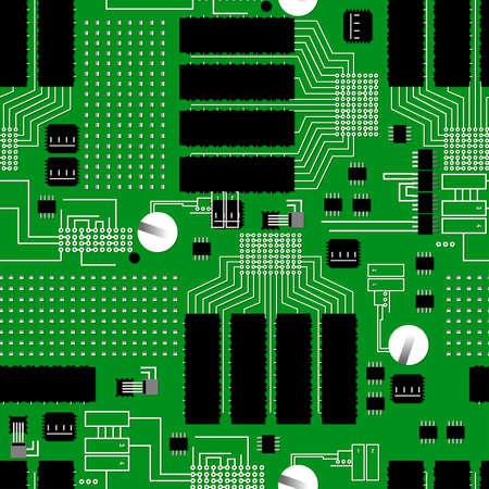 Green circuit board seamless pattern .