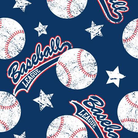 Baseballs and stars seamless pattern . Ilustração