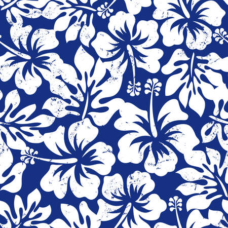 Tropical weathered hibiscus seamless pattern . Vector