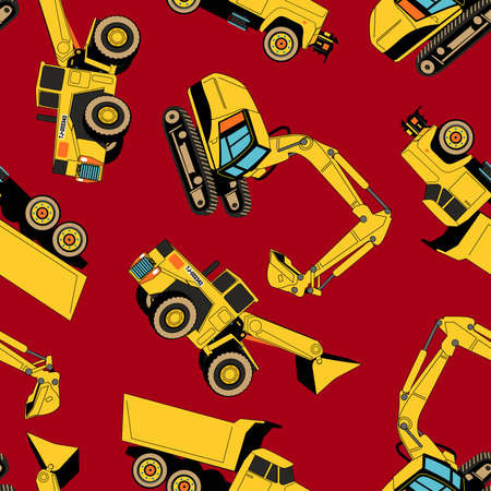 work area: Work area construction vehicles seamless pattern .