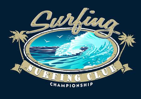 surfing beach: Surfing Club Championship with surfing wave .
