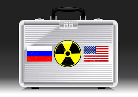 Silver suitcase nuke with flags of RUSSIA and USA .