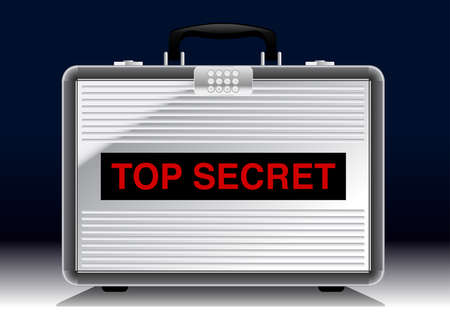key pad: Top Secret metal suitcase under a spotlight .