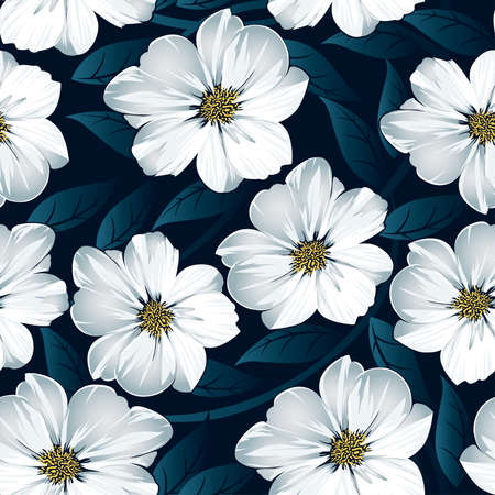 White floral seamless pattern with blue leaves .