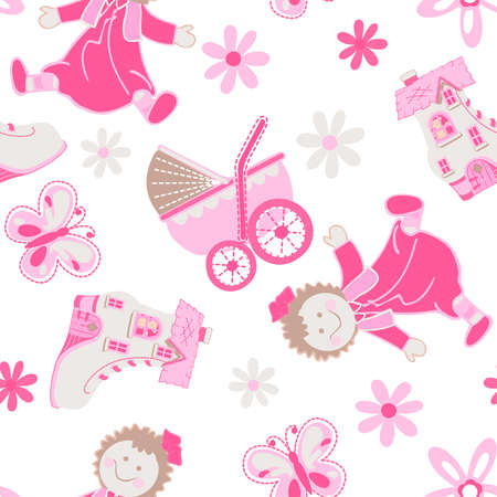 pink flower: Shoe house with doll and pram seamless pattern .