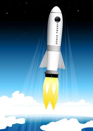 estrella caricatura: Cohete turista espacial despegando en la plataforma de lanzamiento al espacio.