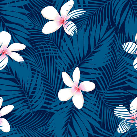 palm leaf: Tropical Plumeria floral seamless pattern .