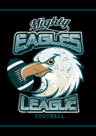 Mighty Eagles League football team on black background . Illustration