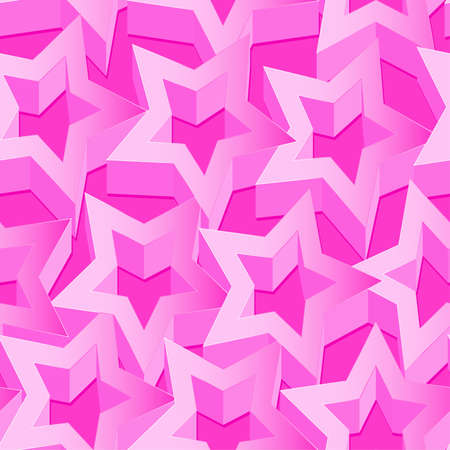 pink wall paper: Pink 3D stars seamless patter on pink .