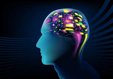 circuitos electronicos: La actividad cerebral eléctrica en una cabeza humana.