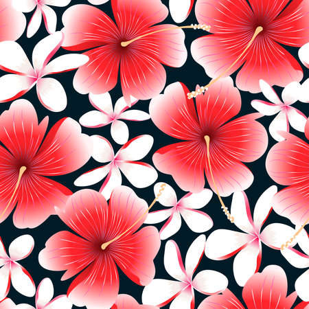 Red tropical hibiscus flower with frangipani seamless pattern .