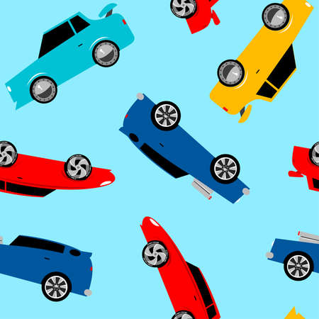 car pattern: Street racing cars in a seamless pattern . Illustration