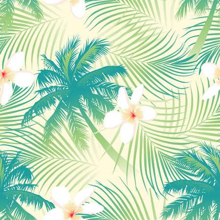 熱帯: シームレス パターンの花を持つ熱帯のヤシの木。  イラスト・ベクター素材