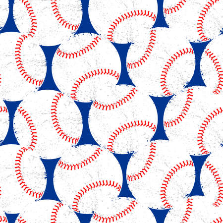 Baseballs with distressed texture seamless pattern.