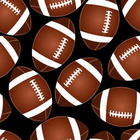 Football on black seamless pattern . Ilustração
