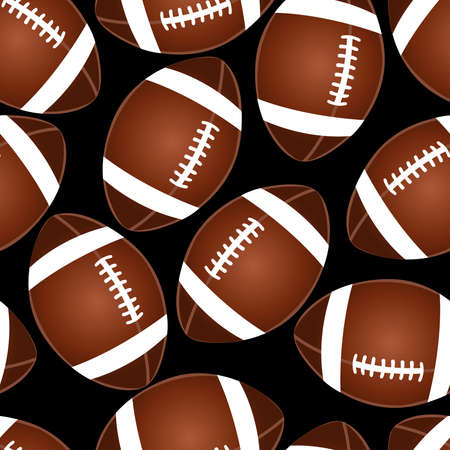Football on black seamless pattern . Иллюстрация