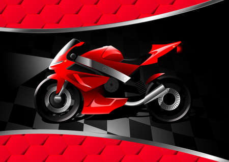 racer flag: Red motor bike at night on textured background .