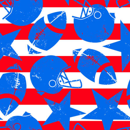 sport balls: Stars and Stripes distressed football seamless pattern.