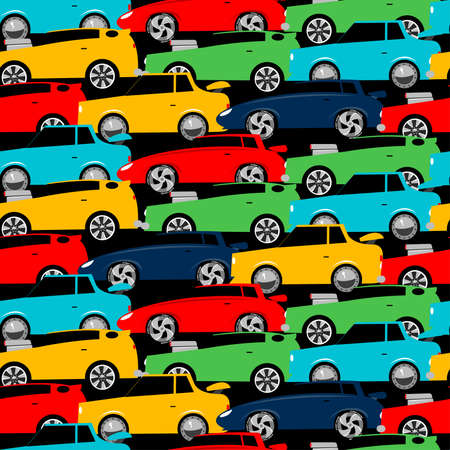 Street racing cars stacked in a seamless pattern .