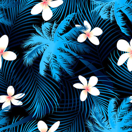Tropical palm seamless pattern with black background .