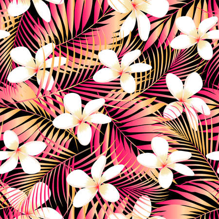 hawaiian culture: Tropical Plumeria with red and orange leaves seamless pattern . Illustration