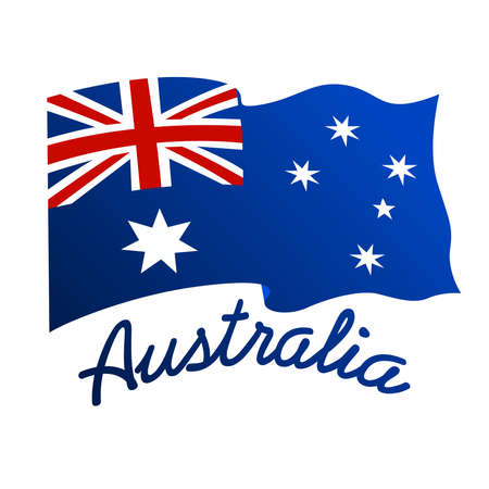 down under: Australian flag in wind with word Australia .