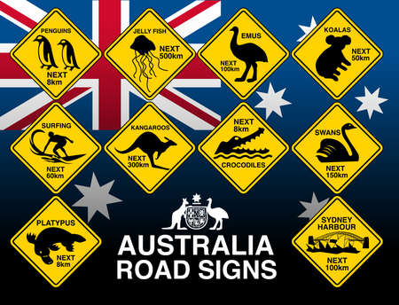 Australian yellow road warning signs with flag .