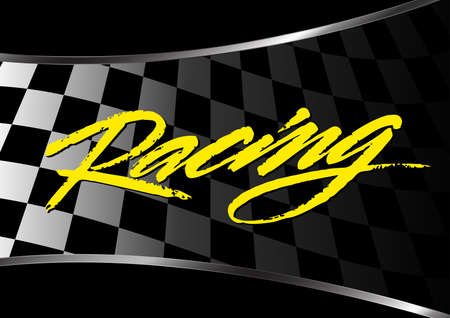 racing: Checkered flag background with racing script . Illustration