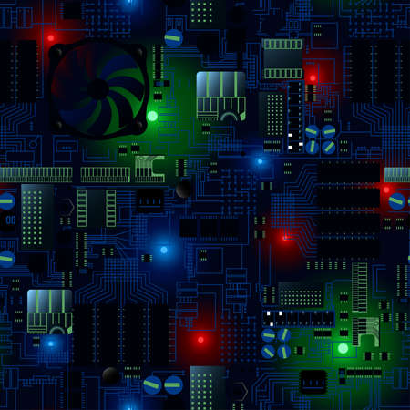 electronic components: Circuit board with LEDs and wires seamless pattern .