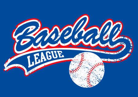 varsity: Distressed baseball script with a baseball . Illustration