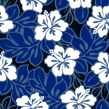 Hibiscus flowers and tropical leaves in a seamless pattern . Illustration