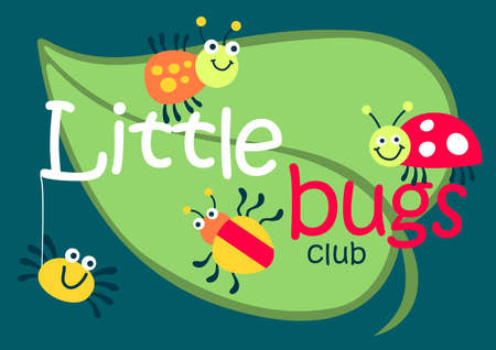 lady beetle: Little bugs club on a green leaf . Illustration