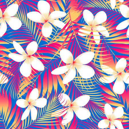 tropical plant: Flores tropicales con hojas de fisuras. Vectores
