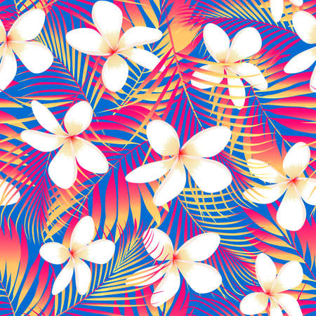 tropical tree: Tropical flowers with leaves seamless pattern .