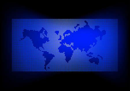 multinational: World map with dark blue background .