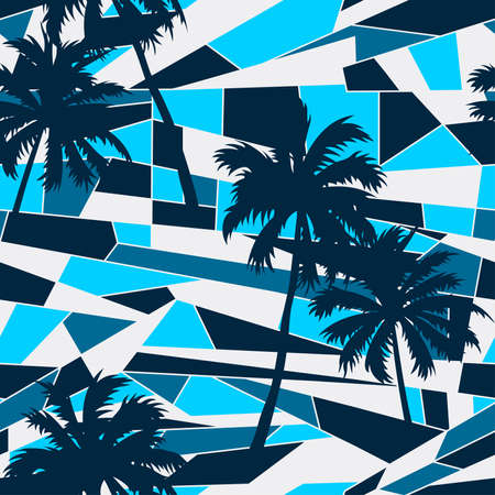 square pattern: Abstract surf pattern with palm trees seamless pattern . Illustration