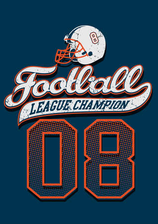 the varsity: Football league champion on a blue background .