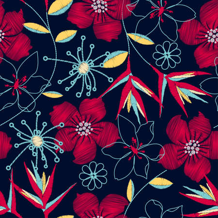 Hibiscus tropical woven embroidery seamless pattern . Иллюстрация