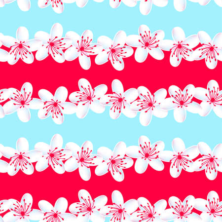 Red and Blue tropical frangipani seamless pattern .