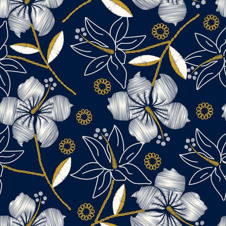 ハイビスカス熱帯海軍シームレスな刺繍。  イラスト・ベクター素材